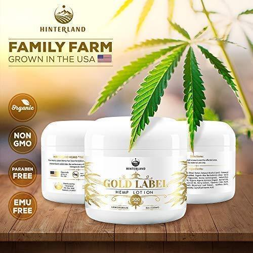 Hemp Pain Relief Cream for Arthritis, Inflammation, Sore Muscles, Joint, Back, Shoulder, Neck Pain, Physical and Sports Therapy - 300mg Extract - Lemongrass Scent - Made in USA - Large 4oz. Container