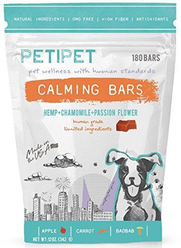 PETIPET Dog Calming Treats- Natural Dog Anxiety Relief Bars. Organic Hemp & Chamomile for Effective Stress, Anxiety Relief in Dogs