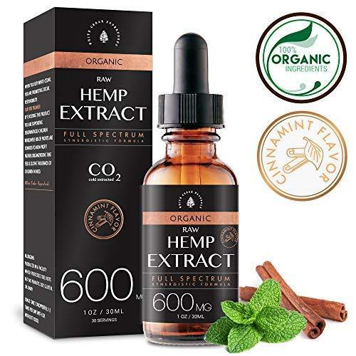 Organic Hemp Oil Extract for Pain & Stress Relief (600MG), Cinnamint Flavor, Full Spectrum, Blended with Organic Hemp Seed Oil for Optimal Absorption, CO2 Cold Extracted, Kosher, Vegan, GF, 1oz.