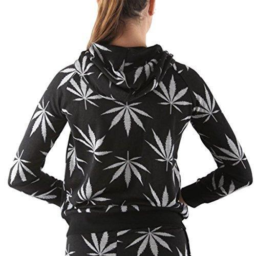 Women's Marijuana Weed Leaf Print Jacket Long Sleeve Hooded Sweatshirt (Black, S)