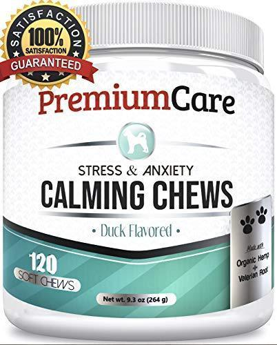 PremiumCare Calming Treats for Dogs | Hemp Oil Infused Soft Chews for Dog Anxiety Relief | Aids Stress, Anxiety, Storms, Barking, Separation and More | 120 Count Dog Calming Treats
