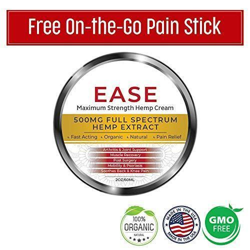 Premium Organic Hemp Cream-Pain Relief for Arthritis, Inflammation & Joint Pain-500mg Hemp Extract w/Essential Oils-Hemp Salve for Psoriasis, Eczema, Sciatica, Neck, Back and Knees- Made in USA- 2oz