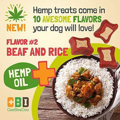 CeeBeeDoo Dog Treats with Hemp Oil for Pain Relief & Anxiety – Healthy & Tasty Hemp Treats for Dogs – Natural Pet Hemp Chews Dog Calming Treats for Small & Large Dogs, (Beef and Rice)
