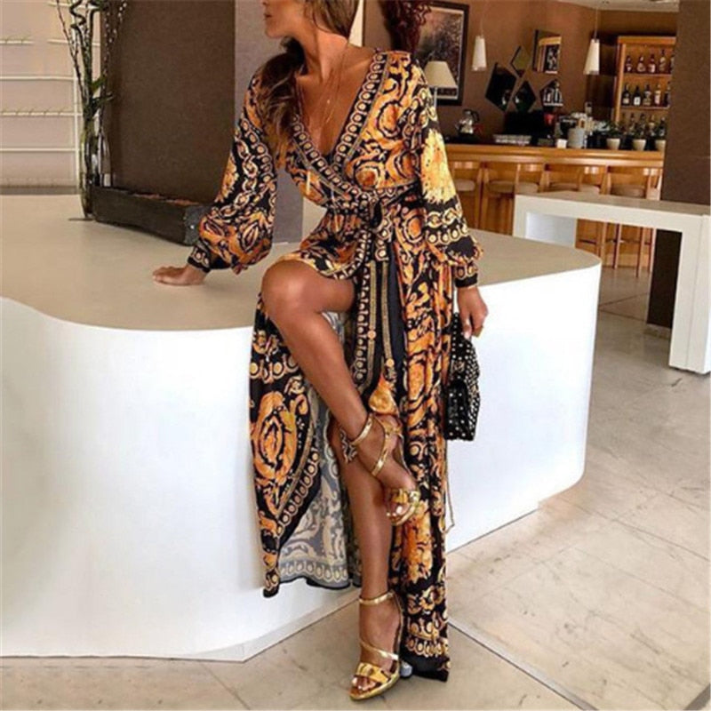 Bohemian Retro Floral Print Summer Dresses For Women Gold Color Long Sleeve V Neck Maxi Dress Women Beach Holiday Club Dresses