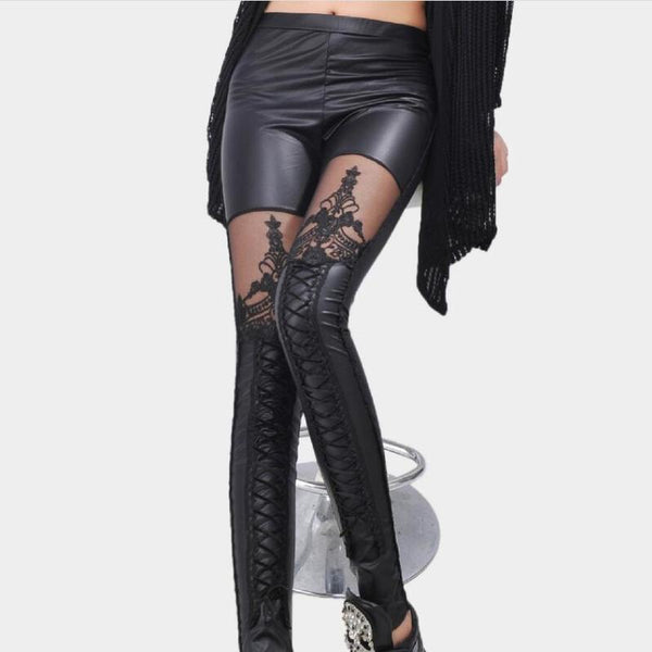 Black Legins Punk Gothic Fashion Women Leggings Sexy PU Leather Stitching Embroidery Hollow Lace Legging For Women Leggins