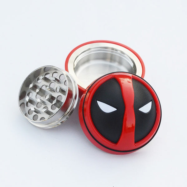 New Deadpool Style Metal&Plastic Tobacco 3 Layers Herb Grinder Smoking Pipe Cigarette Accessories Dia 52MM Drop Shipping