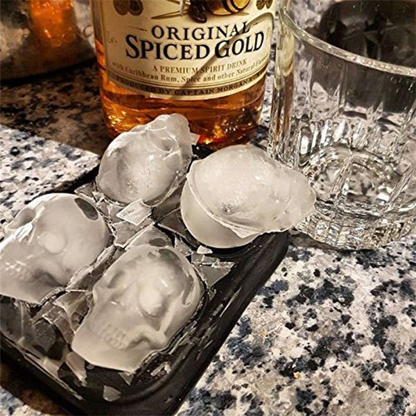 3D Skull Head Ice Cube Mold Halloween Skull Shaped Whisky Wine Ice Cube Tray 4 Cells Silicone Molds Maker For Party Bar Kitchen
