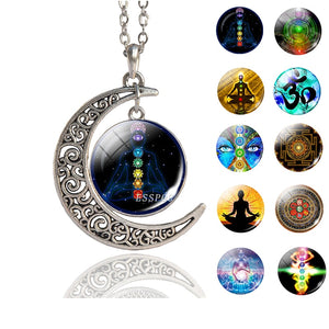 7 Chakra Reiki Healing Crescent Pendant Necklace Antique Silver Necklace Handmade Meditation Spiritual Jewelry for Women Men