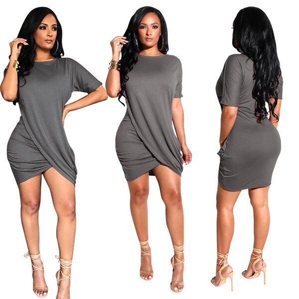 Adogirl o neck short sleeve high cut asymmetrical mini dress pleated summer casual dress draping goddess rompers elastic chemise