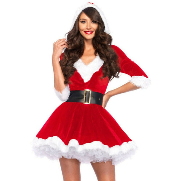Fashion Women Half Sleeve Solid Popular Ladies Santa Claus Xmas Costume Cosplay Outfit Waistbelt Fancy Christmas Mini Dress