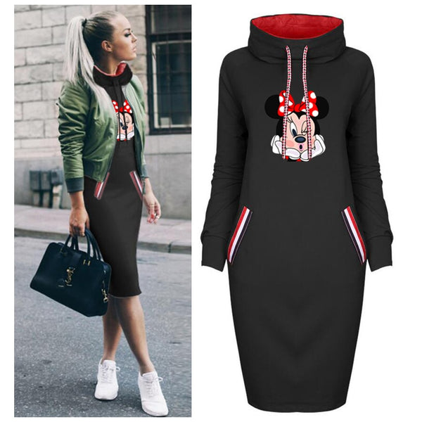 2019 Autumn Thin Dress Women Cartoon Plus Size Minnie Mickey Dresses Vintage Clothes Party Casual Women Black Dress