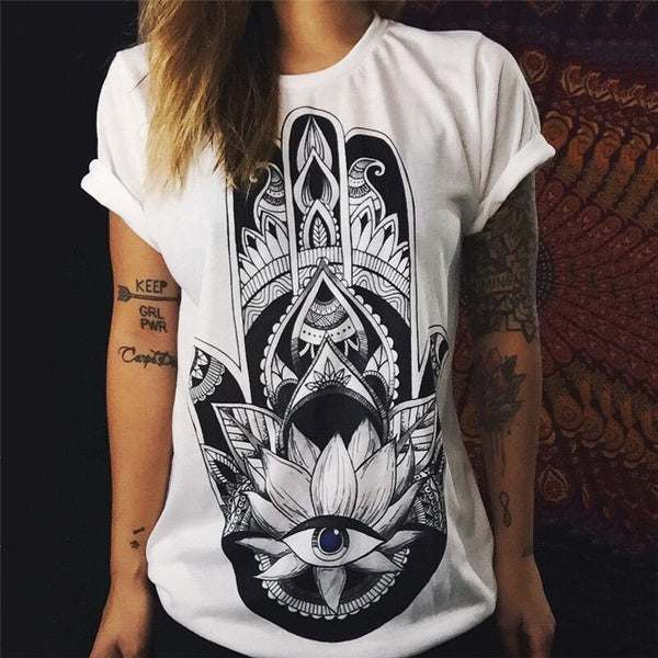 2016 fashion new female wild explosion models black and white Hamsa black short-sleeved T-shirt printing women S2280
