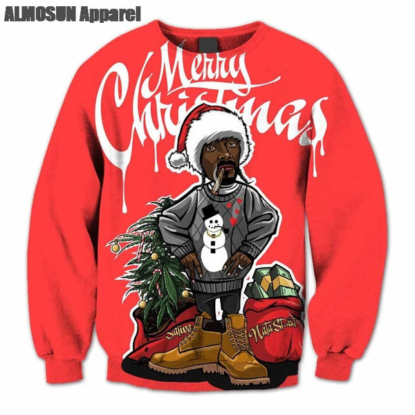 ALMOSUN Snoop Dogg Merry Christmas 3D All Over Print Crewneck Pullover Sweatshirts Hipster Funny Streetwear Jumper Unisex