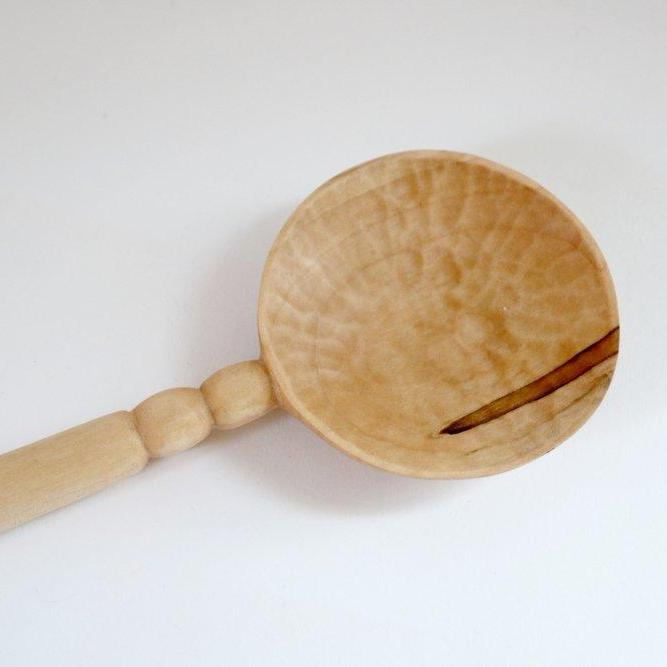 Double Circle Wood Serving Spoon