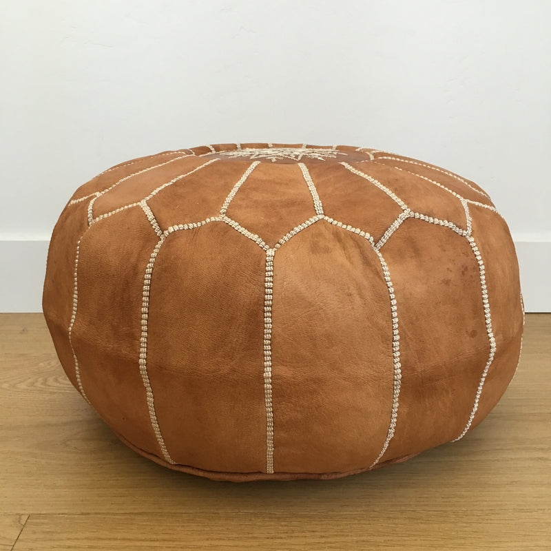 Moroccan leather pouf- Camel