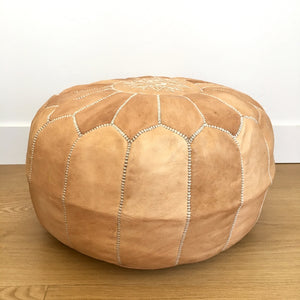 Moroccan leather pouf- Natural
