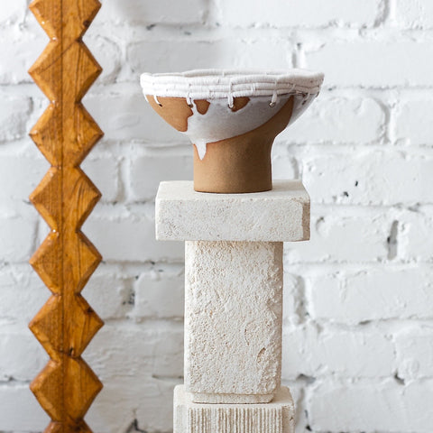 White pedestal bowl