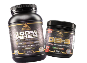 Alpha G3netics - essentials bundle - 100% WHEY 1kg + DB9 Preworkout Formula - SuppsAustralia.com.au