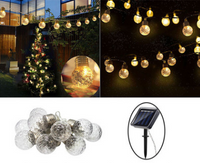 Warm White Solar Festoon Lights - 10 Bulbs with 2M string