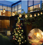 Solar Powered 10 Crystal Ball Lights - Warm White LED