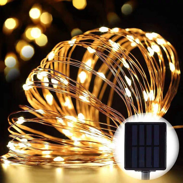 100 Warm White LED Solar Copper String Lights