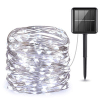 100 Bright White LED Solar Copper String Lights