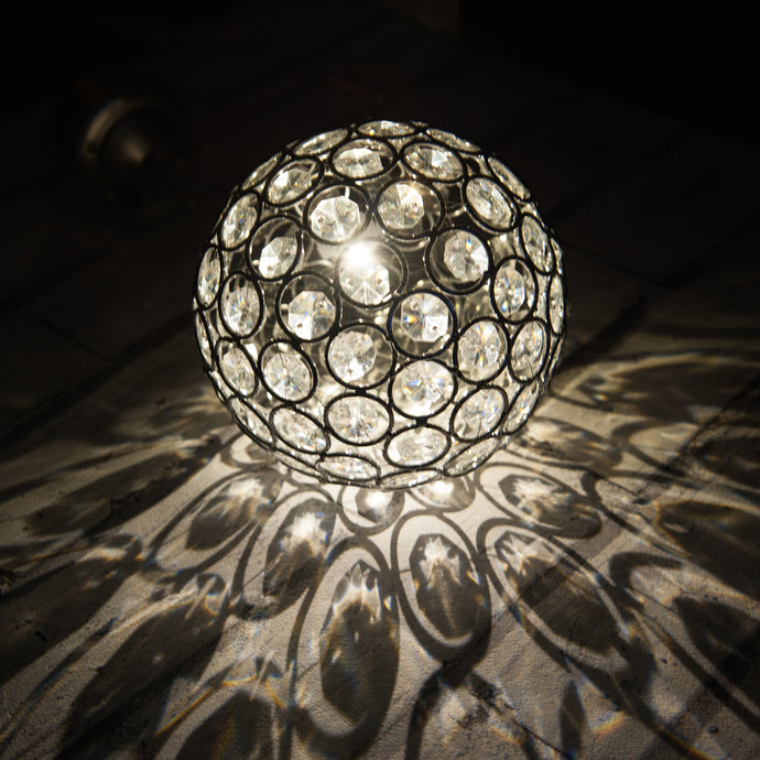 Warm White LED Solar Powered Crystal Ball Light Outdoor Lighting