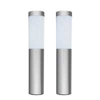 Contemporary Stainless Steel Solar Garden Stake Lights (Set of 2)