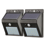 set of 2 - 20 LED Solar Security Light - switched off