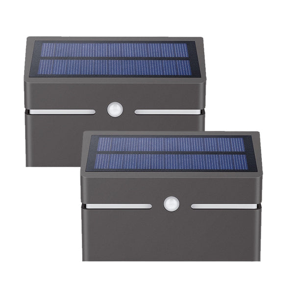 Metallic Solar Wall Light with PIR Sensor (Set of 2)