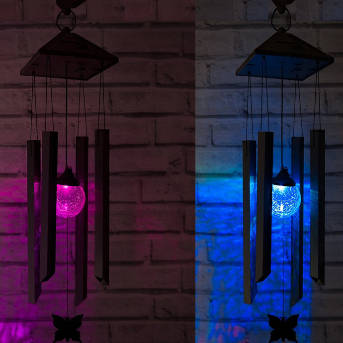 Solar Powered Wind Chimes Light - Colour Changing LED (Set of 2)