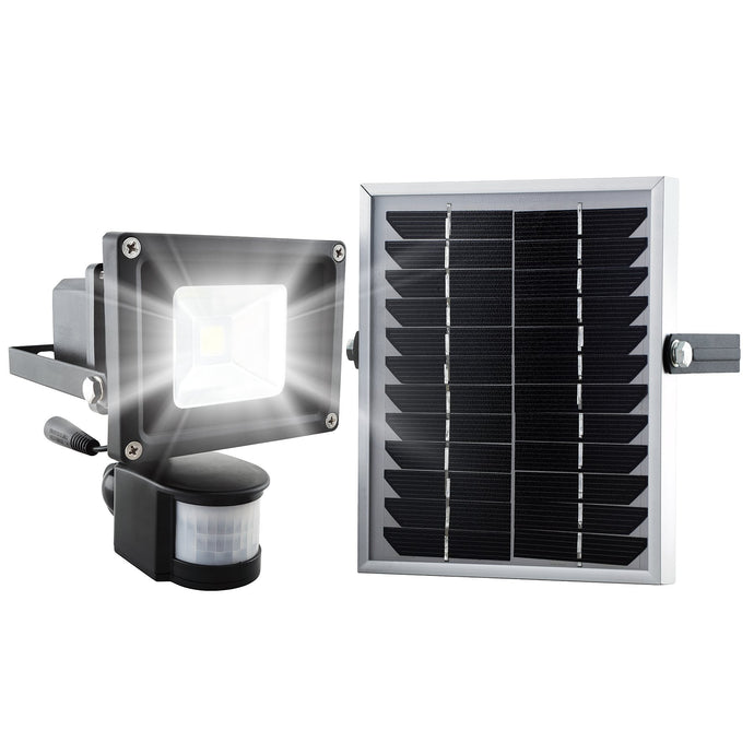 Super SMD LED Solar Security Light in Black - Waterproof and for Outdoor use with Built-in PIR Sensor (free 2-year warranty included)