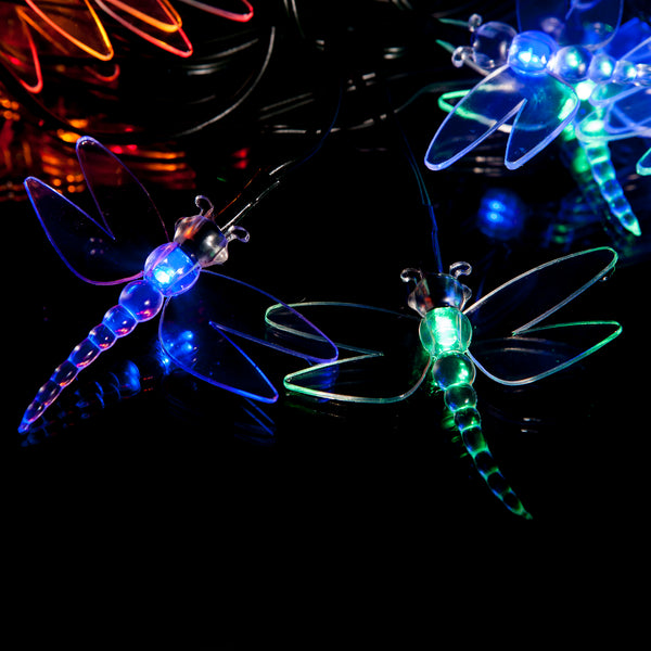 30 Multi-Colour LED Dragonfly Solar Fairy Lights