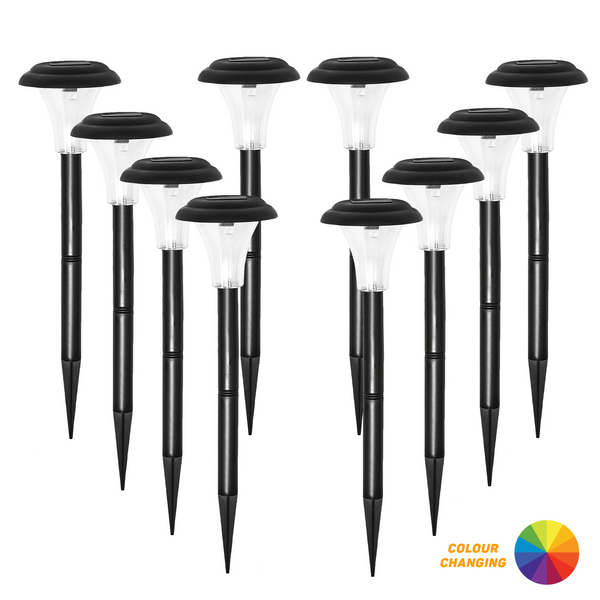 Halo XL Premium Solar Garden Stake Lights with Colour Changing LED (Set of 10)