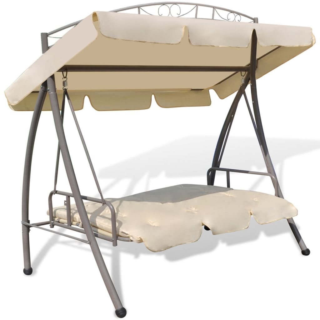 Outdoor Swing Chair Bed Canopy Patterned Arch Sand White Oh My Patio
