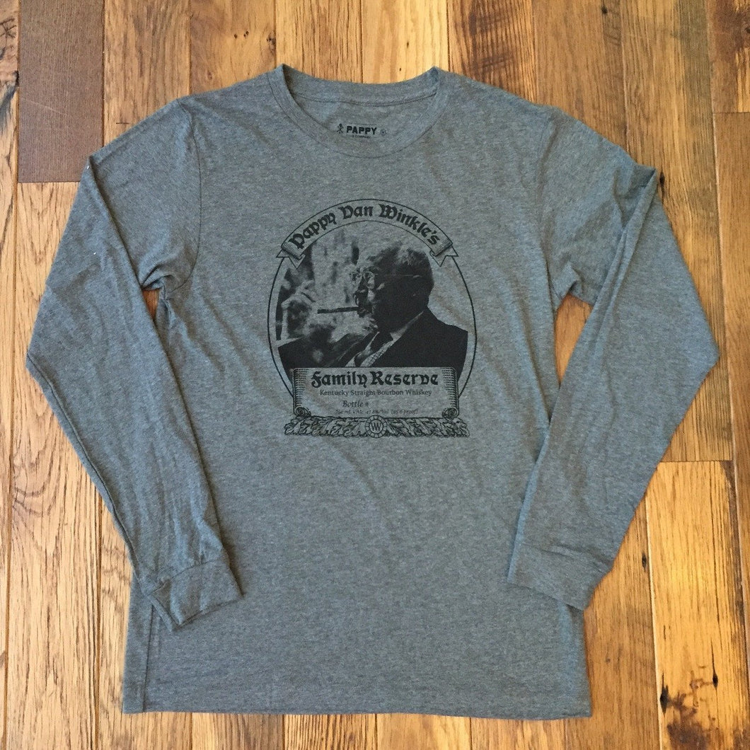 Men's Dark Grey Long Sleeve T-shirt With 23-year Pappy Bourbon Label
