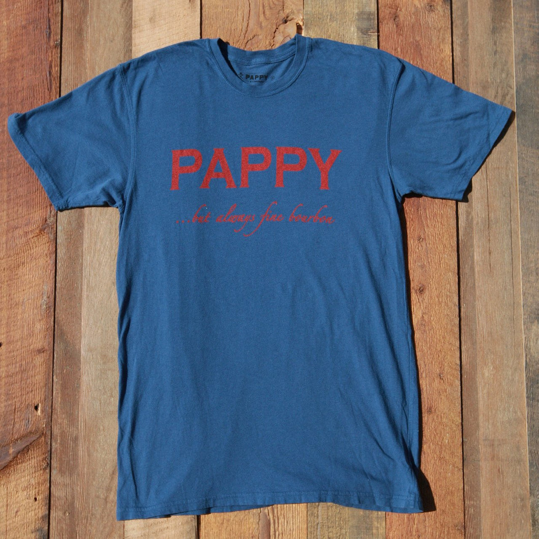 Men's Dark Blue T-Shirt With Pappy But Always Fine Bourbon