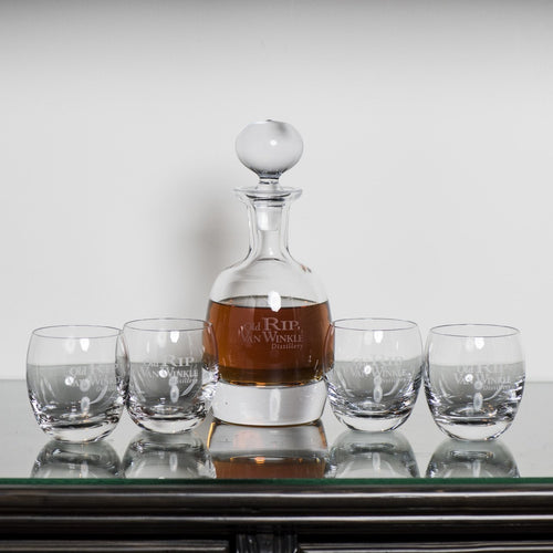 Old Rip Van Winkle Bourbon Decanter and Rocks Glass Set