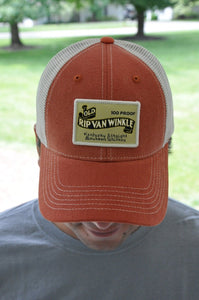Old Rip Van Winkle Bourbon Label Orange Hat for Hunting