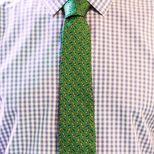 Men's Silk Necktie Bourbon & Cigars in Green