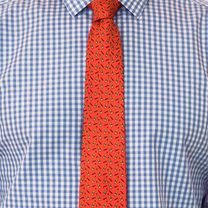 Men's Silk Necktie Bourbon & Cigars in Red