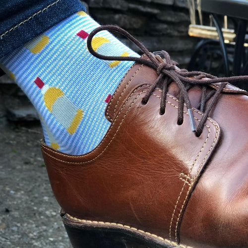 Bourbon Bottle Socks in Blue