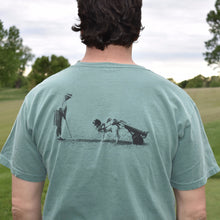 Men's Green T-Shirt With Pappy and His Dog Golfing