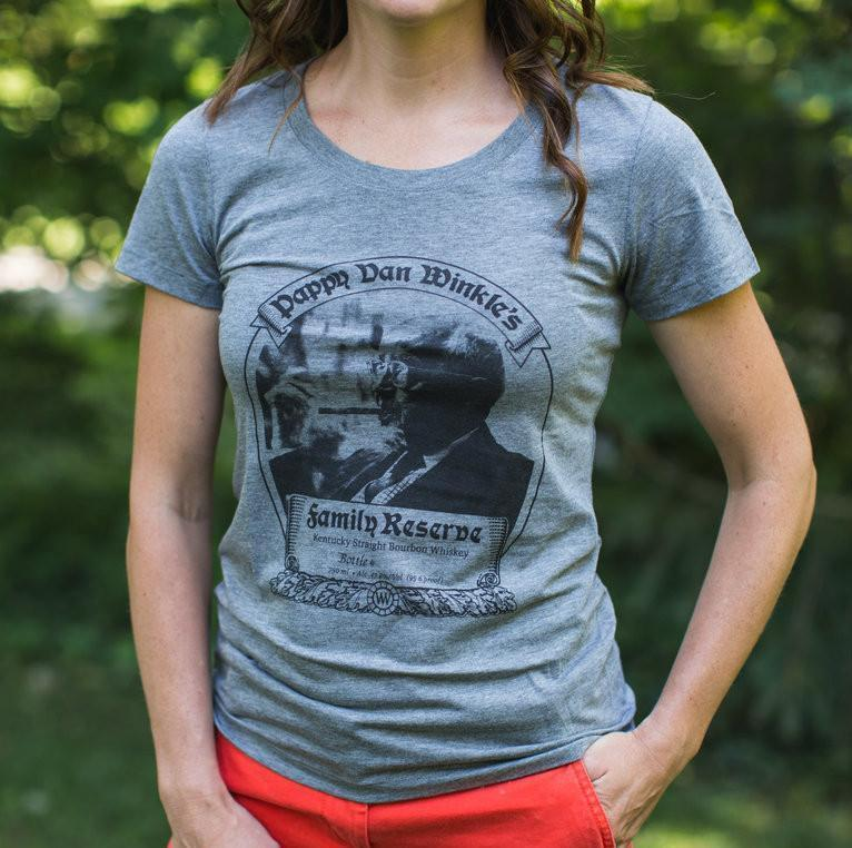 Women's Grey Tri-blend T-shirt With Pappy 23-year Bourbon Label