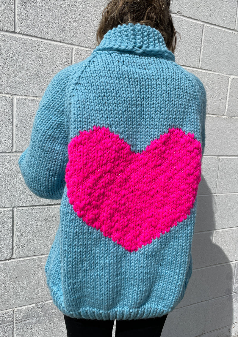 Classic Heart Cardi in Blue Bird