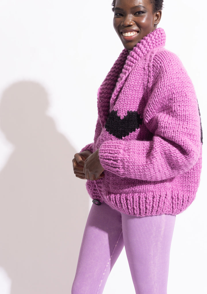 Classic Short Heart Cardi in Orchid