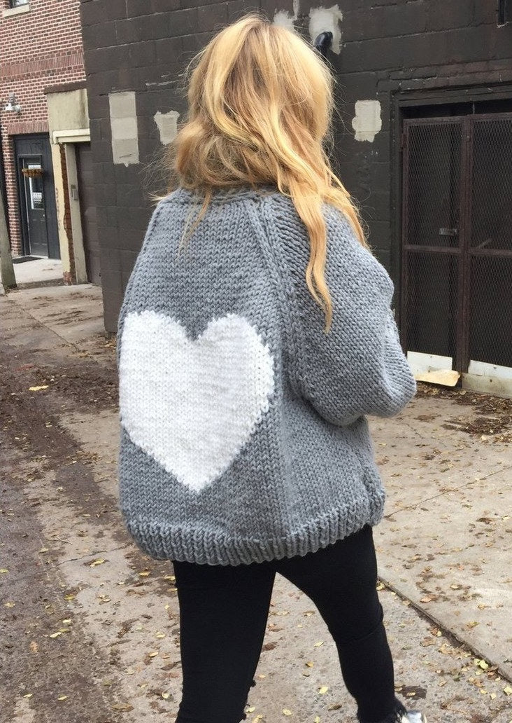Grey Loose Heart Cardigan