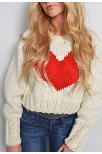 Knit Heart Pullover - White with red heart.