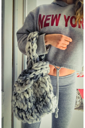 Chunky Knit Crossover Tote Bag