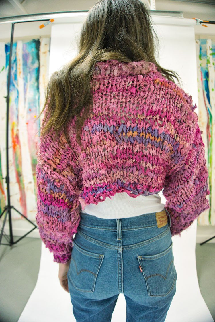 Recycled Silk Bolero - Raspberry